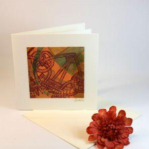 """Carterie d'Art - Carte artistique collection """"Floralies"""" n°3 - Format 13,5 x 13,5 en vente sur la boutique de Carrés Nomades"""