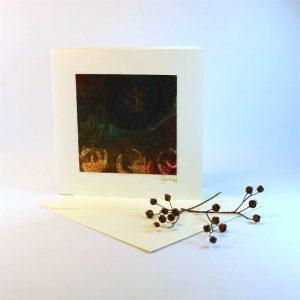 """Carterie d'Art - Carte artistique collection """"Dans les toiles"""" n°2 - Format 13,5 x 13,5 en vente sur la boutique de Carrés Nomades"""