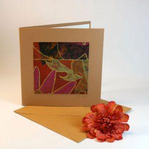 """Carterie d'Art - Carte artistique collection """"Floralies"""" n°7 - Format 13,5 x 13,5 en vente sur la boutique de Carrés Nomades"""
